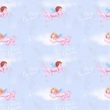 Engelen in blauwe hemel royalty-vrije illustratie