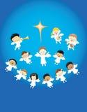 Engelen die de geboorte van Jesus prijzen Stock Fotografie