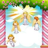 Engelen die in de hemel vliegen vector illustratie