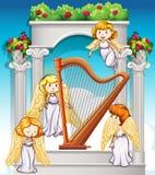 Engelen die rond de harp vliegen vector illustratie