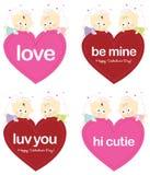Engelen die Valentijnskaarten geïsoleerde reeks houden Stock Afbeelding