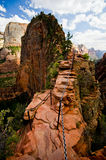 Engelen die in Zion National Park, Utah landen Royalty-vrije Stock Foto