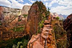 Engelen die in Zion National Park, Utah landen Royalty-vrije Stock Afbeeldingen