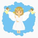 Engelen en kleine hoeken die trompetillustratie blazen Stock Fotografie