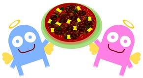 Engelen en pizza vector illustratie