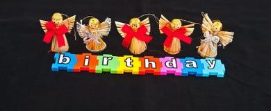 Engelen en verjaardag stock afbeelding