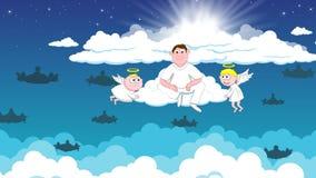 Engelen in hemel vector illustratie