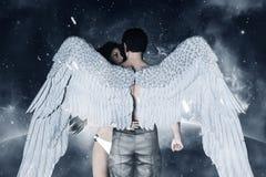 Engelen in hemelland stock illustratie