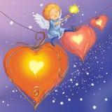 Engelen lichte harten van liefde royalty-vrije illustratie