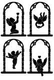 Engelen met harten royalty-vrije illustratie