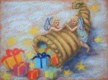 Engelen met hoorn des overvloeds royalty-vrije illustratie
