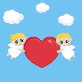 Engelen met rood hart vector illustratie