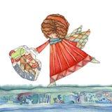 Engelen met zak royalty-vrije illustratie
