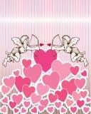 Engelen op een Achtergrond van het Hart. royalty-vrije illustratie