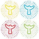 Engelen op radiale sterachtergrond Reeks gekleurde achtergronden stock illustratie