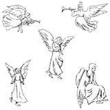 engelen Potloodschets met de hand royalty-vrije illustratie