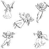 engelen Potloodschets met de hand stock illustratie