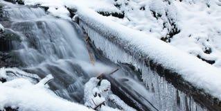 Engelendalingen, de wintertijd met sneeuw en ijskegels, Washington de V.S. royalty-vrije stock foto's