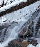 Engelendalingen, de wintertijd met sneeuw en ijskegels, Washington de V.S. stock foto's