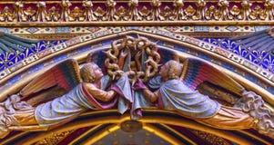 Engelenhoutsnijwerken Sainte Chapelle Cathedral Paris France Stock Afbeelding