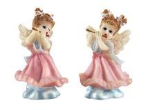 Engelenmeisje die de fluit spelen Stock Foto