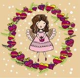 Engelenmeisje in Kerstmisdecoratie Vector Illustratie