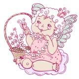 Engelenmeisje met vlinders in schetsstijl Stock Afbeelding