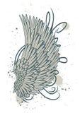engelenvleugel met wervelingen en vlekken op wit worden geïsoleerd dat stock illustratie