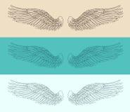 Engelenvleugels geplaatst illustratie, gegraveerde stijl, getrokken hand Royalty-vrije Stock Fotografie