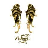 engelenvleugels, het van letters voorzien, het trekken stock illustratie