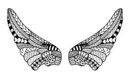 Engelenvleugels, hoogst gedetailleerde illustratie binnen Stock Foto