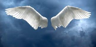 Engelenvleugels met stormachtige hemelachtergrond royalty-vrije stock foto's