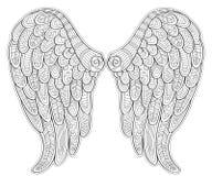 Engelenvleugels in zentanglestijl voor tatoo of t-shirt stock illustratie