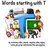 Engels aantekenvel voor woorden die met T beginnen stock illustratie