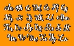 Engels alfabet ABC-Brieven het Moderne Geborstelde Van letters voorzien Stock Foto