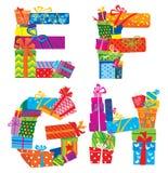 Engels alfabet - de brieven worden gemaakt van giftvakjes  vector illustratie