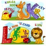 Engels alfabet K L stock illustratie