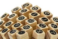 Engels alfabet in kleine letters, collage van geïsoleerd houten letterzetsel Royalty-vrije Stock Foto's