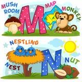 Engels alfabet M N royalty-vrije illustratie