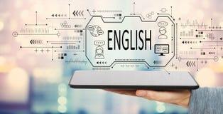 Engels concept met tabletcomputer stock illustratie