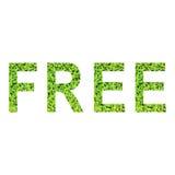 Engels die alfabet van VRIJ van groen gras op witte achtergrond wordt gemaakt Stock Foto
