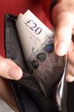 Engels geld in een portefeuille Royalty-vrije Stock Foto's