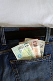 Engels Geld in Jeanszak Royalty-vrije Stock Fotografie