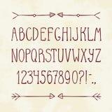 Engels hand getrokken alfabet en pijlen Royalty-vrije Stock Foto