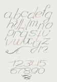 Engels hand getrokken cursief typemanuscript van a aan z met cijfers van 0 tot 9 Kalligrafie met bonen mooi elegant alfabet wordt Stock Afbeelding