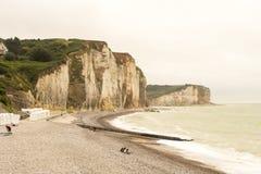 Engels Kanaal, reusachtig krijtrotsen en kiezelsteenstrand dichtbij Quiberville in Normandië, Frankrijk stock fotografie