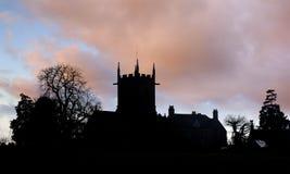 Engels kerkSilhouet Royalty-vrije Stock Foto