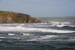 Engels kustlandschap Bigburybaai in Devon het UK stock foto's