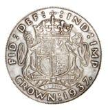 Engels muntstuk van zilver Stock Foto's