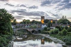 Engels platteland bij zonsondergang Royalty-vrije Stock Afbeeldingen